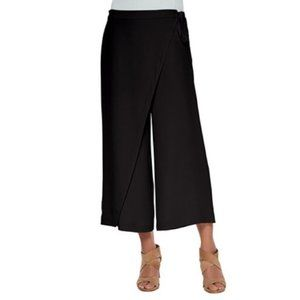 Eileen Fisher Silk Cropped Wrap Pants Black XS